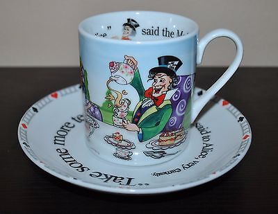 NEW PAUL CARDEW  ALICE in WONDERLAND MAD HATTER'S TEAPARTY Teacup & Saucer