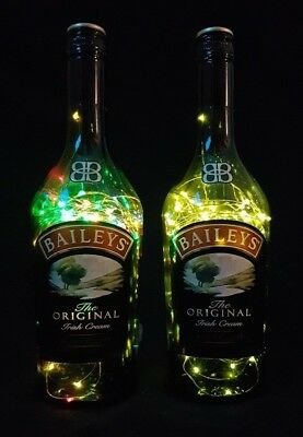 Baileys - Flaschen Lampe mit 80 LEDs Farbauswahl Upcycling Geschenk Idee