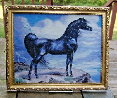 Hand Crafted Needle Work Beautiful Black Horse Framed