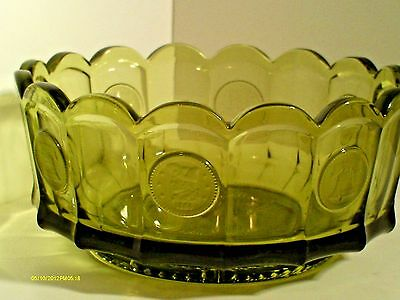 vintage Fostoria green coin glass round bowl with scalloped edges