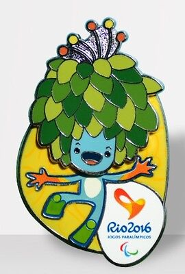Brazil Rio 2016 Olympic&Paralympic Mascot Tom 2-Deck Pin Badge,Head Can Move !