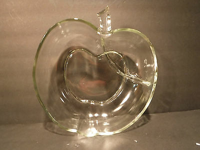 Apple Shaped Glass Snack Bowl Dish Server With Separate Dip/Salsa Area