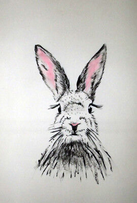 A3 ORIGINAL ART * Charcoal on paper * RABBIT with PINK EARS   * Art By Poppi