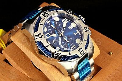 Invicta 50mm Bolt Gen III Chronograph Blu Dial Silver Tone SS Bracelet Watch NEW