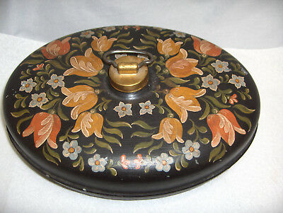 VntgToleware Painted Tulips Black Metal Oval Bed Foot Warmer Hot Water Container