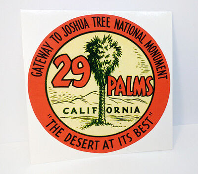 "29 PALMS CALIFORNIA / Joshua Tree Vintage Style Travel DECAL / 4"" Vinyl STICKER"