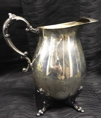 Vtg Sheridan Silver Plated on Copper Floral Feet Footed Lipped Water Pitcher