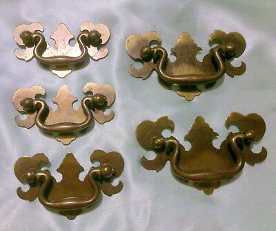 Set of 5 Vintage Brass Chippendale Style Batwing Drawer Pulls