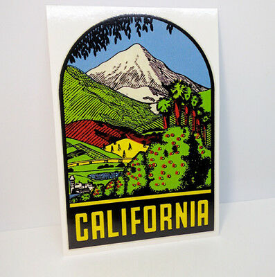 CALIFORNIA Mountains Vintage Style Travel DECAL / Vinyl STICKER, Luggage Label