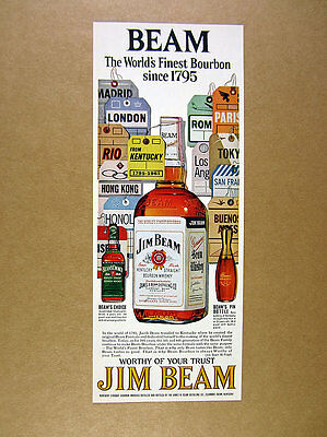 1961 Jim Beam Bourbon GREAT bottle & baggage luggage tags art vintage print Ad