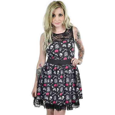 Too Fast Skeleton & Crossbones Dress Lace Ribcage Gothic SIZE L and XL