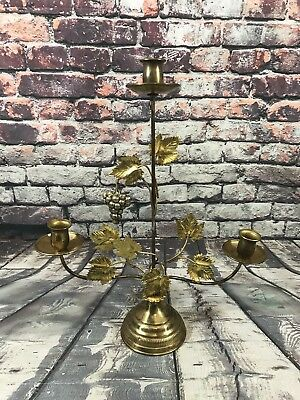 "Vintage Brass Candelabra 2 Arm 3 Taper Candle Holder 16"" Tall ~ Leaf & Grapes"