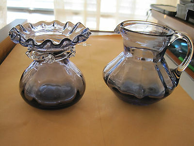 "Vintage purple mini vases 3"" hand blown"