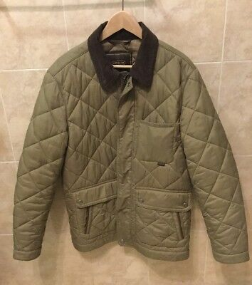 Mens Coach Quilted Jacket Size Medium Olive Authentic