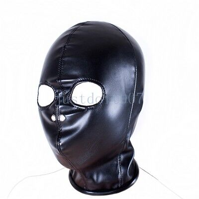 Leather Head harness Hood Mask slave Roleplay Open Eyes breathable Funny Game