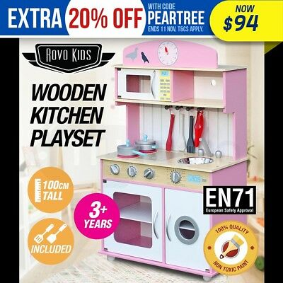 NEW ROVO KIDS Wooden Pretend Kitchen Toy Play Set Cooking Cookware Toddler Home