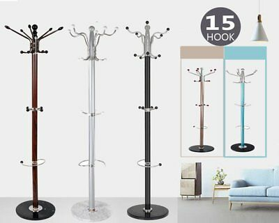 Multi Colors Metal Hat and Coat Clothes Umbrella Hall Stand Rack Hanger 15 Hooks