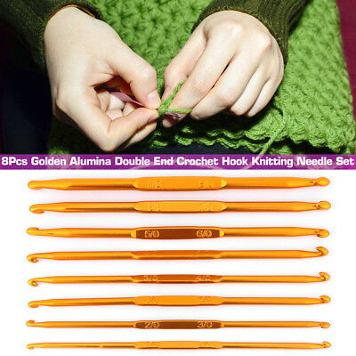 8 Pcs Gold Alumina Double End Crochet Hooks Knitting Needle Set Weave Yarn Craft