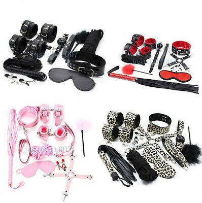 Restraint Set Leather Handcuffs Collar EyeMask Whip Shackle Mouth Gag Hog Tie