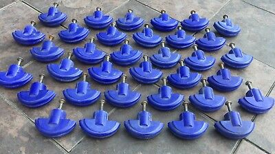 LG. LOT OF 35 VINTAGE ROYAL BLUE CAST PLASTIC DRAWER OR CABINET PULLS c.1930's