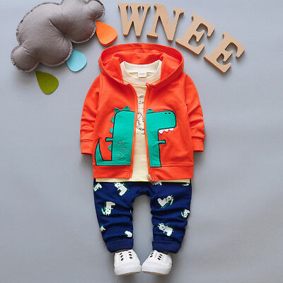 3pcs Toddler Baby Boys Girls Hooded Coat+T-Shirt+Pants Set Kids Outfits Dinosaur