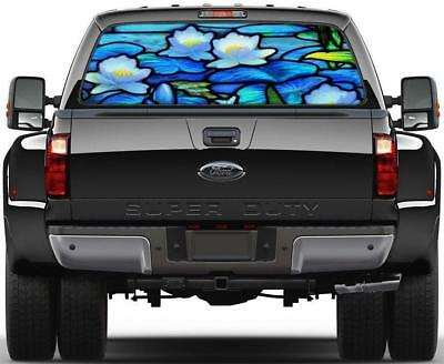 Stained Glass Water Lillies Rear Window Decal Sticker Car Truck SUV Flowers 299