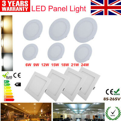 UK Ship Recessed LED Ceiling Flat Light Downlight Lamp Bulb Round Slimline Panel