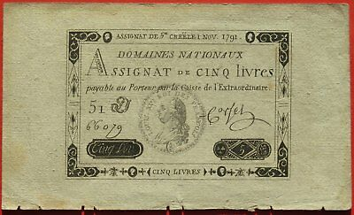 FRANCE - Assignat 5 Livres - 1792 -  Revolutionary Era