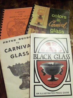 3 Books on Vintage Glass Carnival, Iridescent, &  Black Glass Price Guides