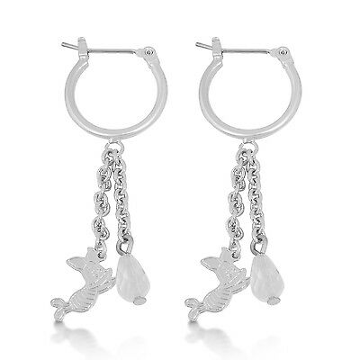 Disney Official White Gold-Plated Piglet from Winnie the Pooh Earrings