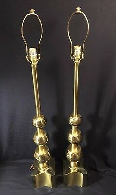 Vintage Pair Tommy Parzinger Stiffel Solid Brass Hollywood Regency Table Lamps