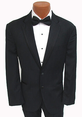 "Black Calvin Klein Chalk Striped ""Concord"" Tuxedo Jacket Wedding Prom Mason"
