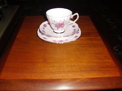 Lovely Colclough Bone China Ridgway Potteries Pink Rose Design Trio