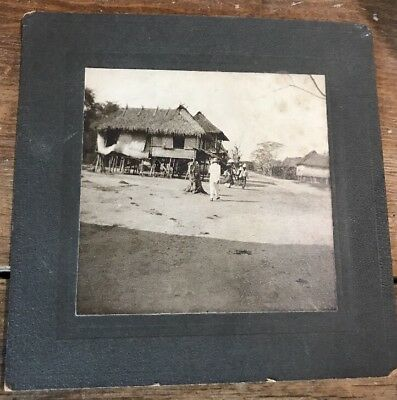Antique Square Cabinet Photo - Phillipines Natives Hut 19th Century