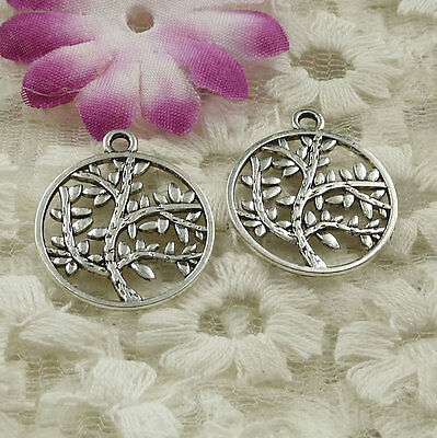 Free Ship 55 pieces Antique silver tree charms 23x20mm #4530