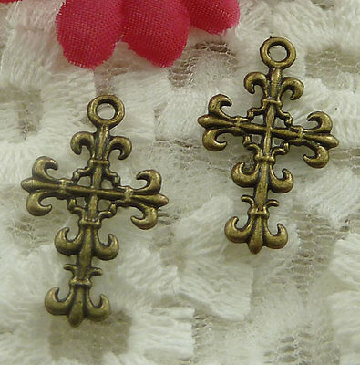 free ship 100 pieces bronze plated cross charms 23x14mm #2138