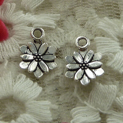 free ship 230 pieces Antique silver flower charms 13x9mm #2795
