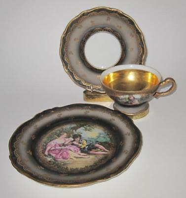 Hertel Jacob Bavaria, Gray People in Center Couple Dessert Trio Cup Saucer Plate
