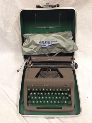 Vintage Royal Quiet Deluxe Portable Typewriter With Green Keys and Tan Case