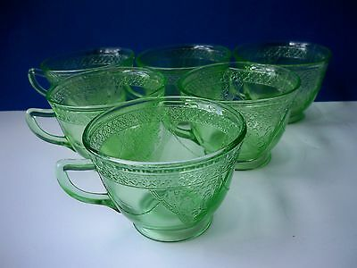 """6 Federal Glass Green Georgian Cups ONLY 2 1/2"""""""