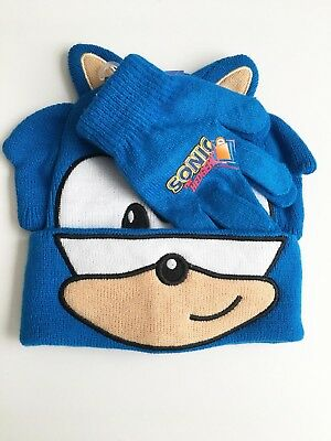 Sonic The Hedgehog Boom Beanie Knit Hat and Glove Set, One Size Fits Most