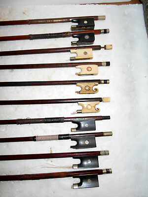 Vintage Lot of 10 Old  Antique Full Size Violin Bows - NR