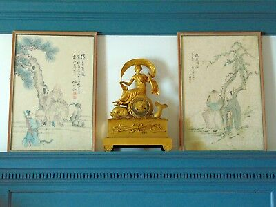 Pair Of Antique Chinese Republic Period Signed Paintings Of Scholars / Immortals