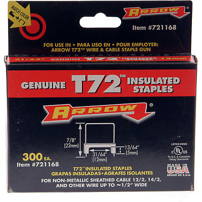 ARROW FASTENERS 721168 T72 Insulated Staples
