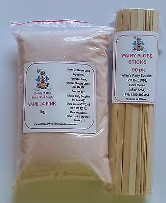 Fairy Floss Sugar & Sticks 50 Serve Kit, Vanilla Pink, Fairy Floss Machine,