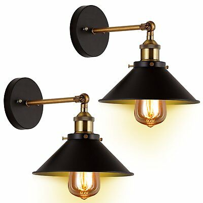 Vintage Retro Industrial Antique Metal Sconce Wall Light Lamp Shade Fixture 2Pc