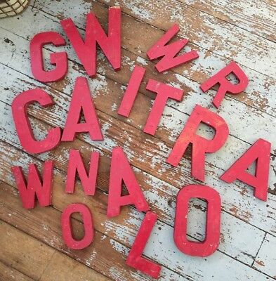 16 Vintage Red Painted Wood Letters