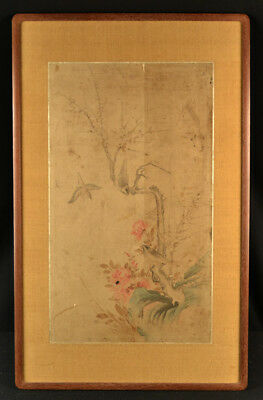 Antique Chinese Original Old Watercolor Painting Birds Rose Bush Bugs Unsigned