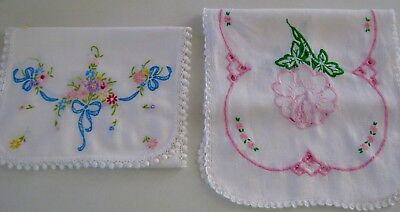 2 Vintage Hand Embroidered Crocheted Edge Madiera Dresser Scarves Table Runners