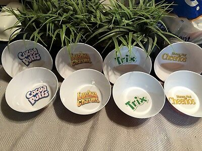 Set of 8 General Mills Kids Plastic cereal bowls, Trix/Cocoa Puffs/Lucky Charms